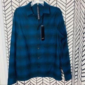 🔸 lululemon masons peak flannel plaid shirt blue